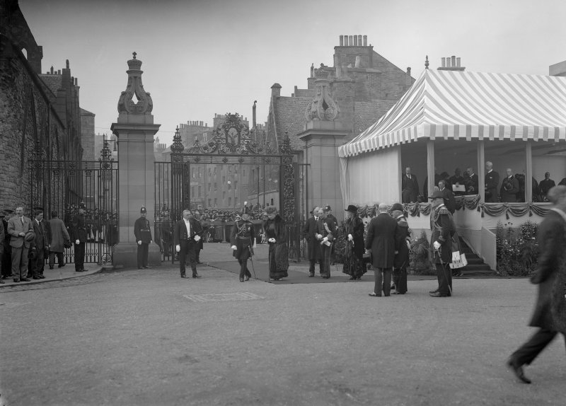 Queen Mary at a ceremony, North Gateway, Holyrood Palace.