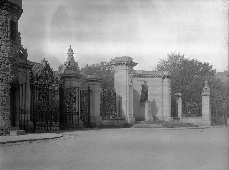 General view of Memorial to King Edward VII, including gates, from North West