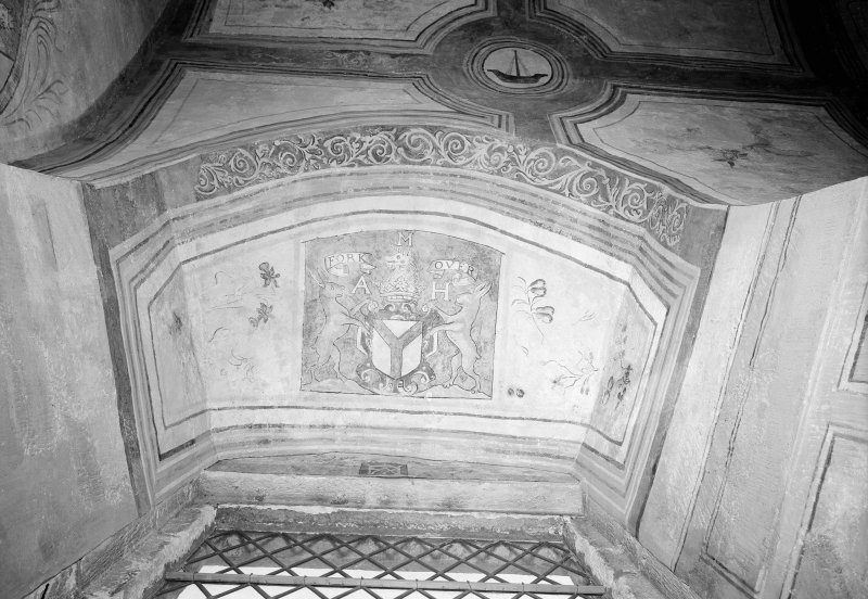 Interior. View of coat of arms after restoration.