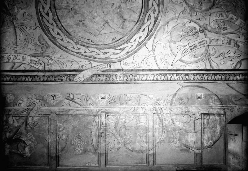 Interior. Detail of painted wall after restoration.