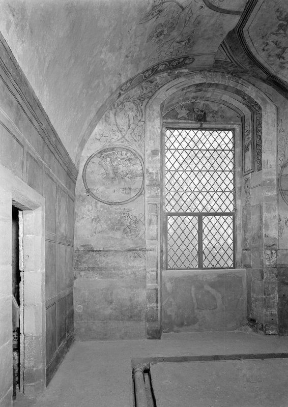 Interior. View of painted wall and ceiling near window after restoration.