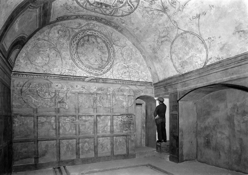 Interior. View of ceiling and wall of N room after restoration.