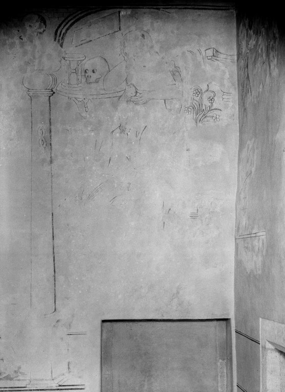 Interior. Detail of W wall in S room.