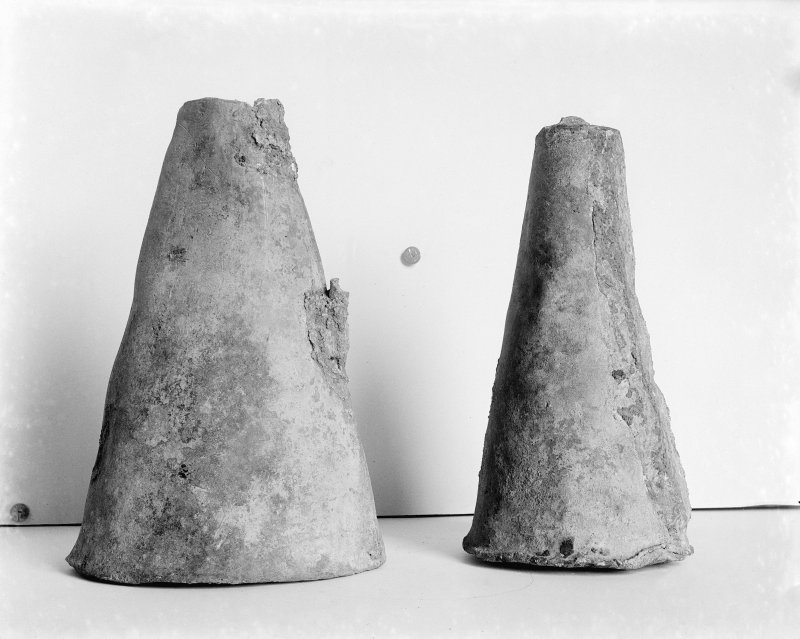 View of conical lead caskets found at Melrose Abbey in 1921.