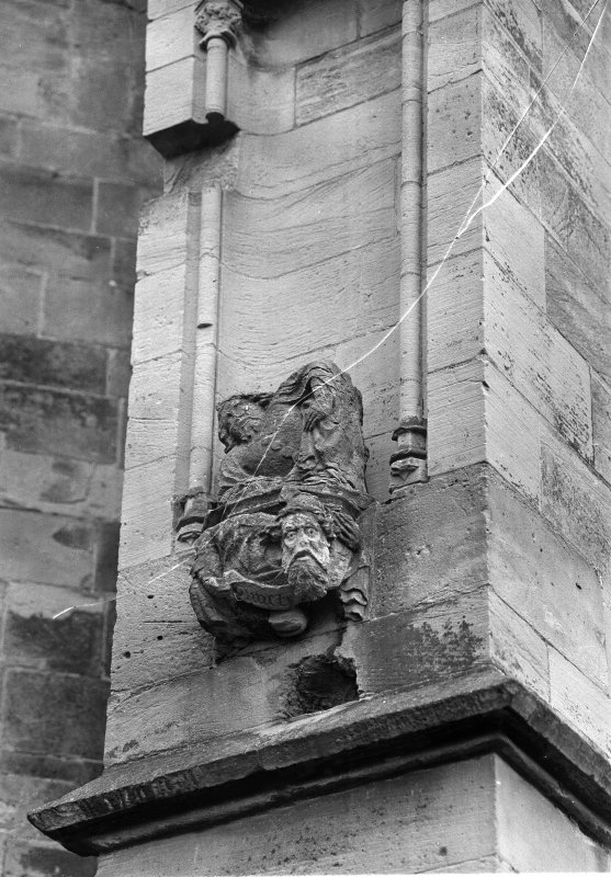 Detail of gargoyle being repaired.