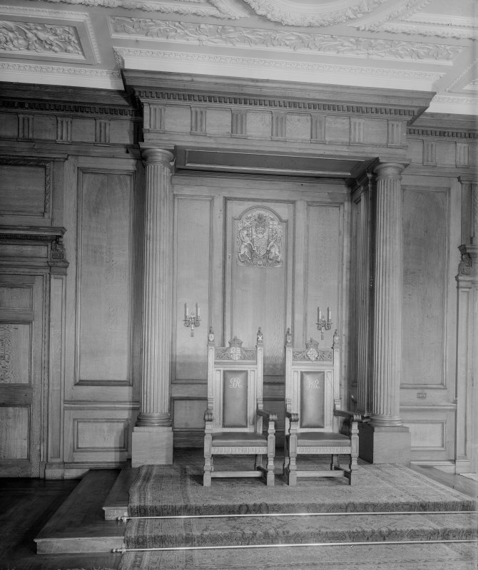 "Interior-general view of two thrones monogrammed ""GR"" and ""MR"" in Throne Room at Holyrood Palace"