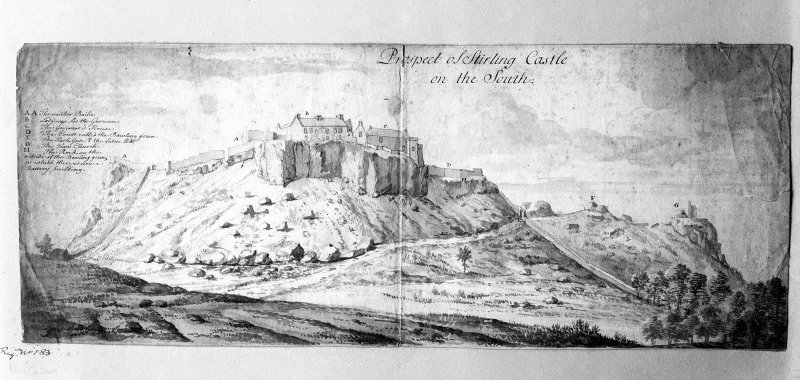 Photographic copy of engraving showing view from S. Entitled: 'Prospect of Stirling Castle on the South' 18th Century