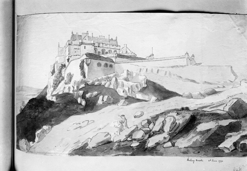 Photographic copy of drawing showing view from SW. Insc: 'Stirling Castle, 2nd June 1790'