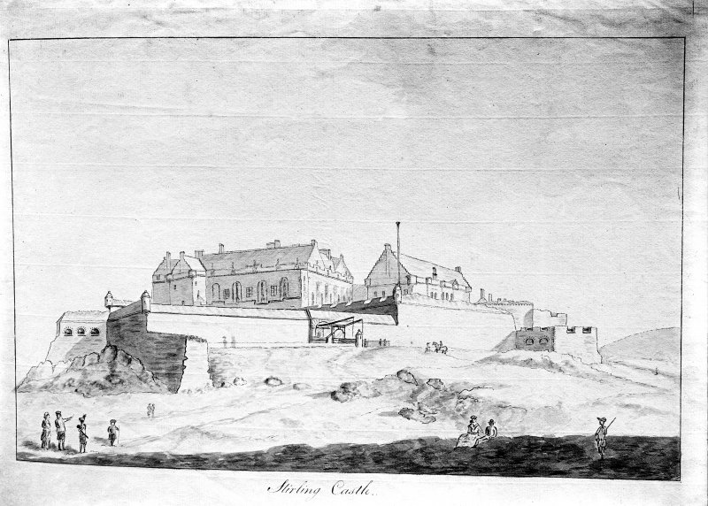 Photographic copy of drawing showing view from SE.