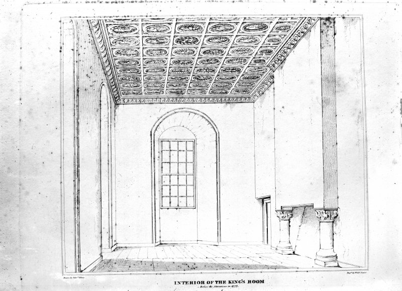 Photographic copy of drawing of king's room before the alterations in 1777. Insc: 'Interior of the King's Room before the alterations in 1777' Not dated