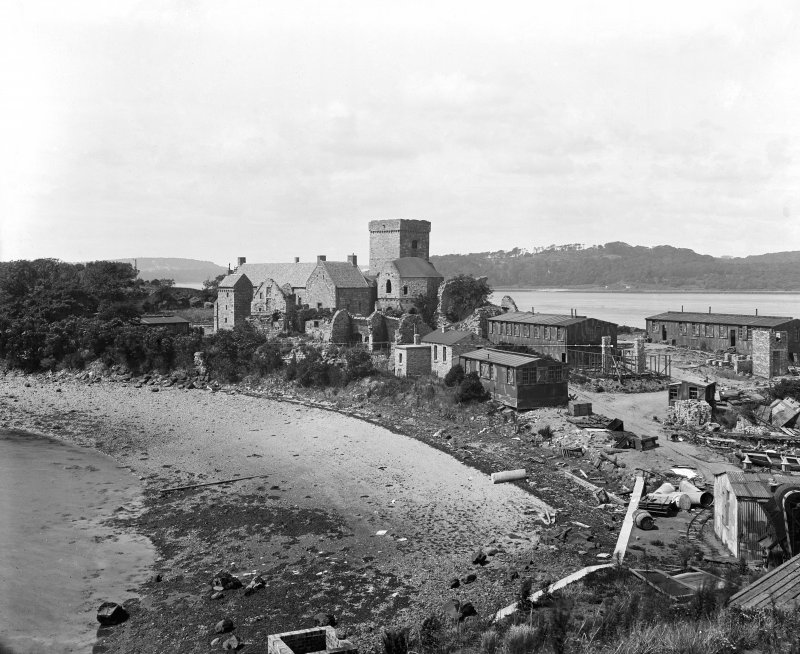 View from South East of Inchcolm Abbey and First World War huts