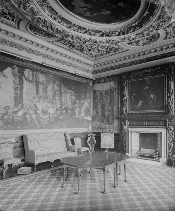 Interior-general view of Music Room (Middle State Room) in Holyrood Palace