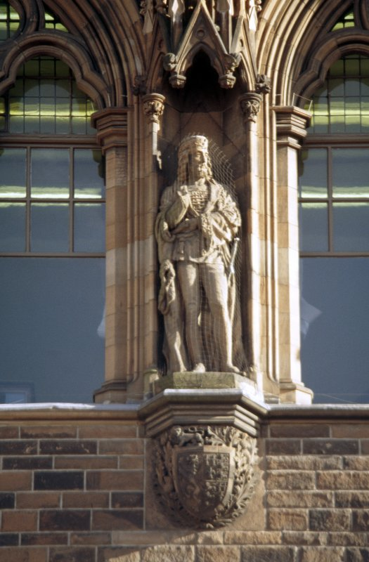View of statue of James I, King of Scots,  second from left on eastern section of N facade.