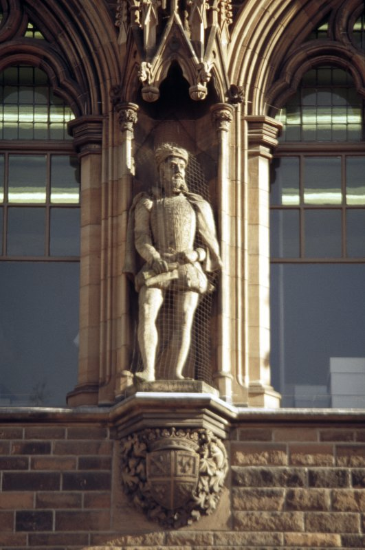 View of statue of James Stewart, Earl of Moray, fourth from left on eastern section of N facade.