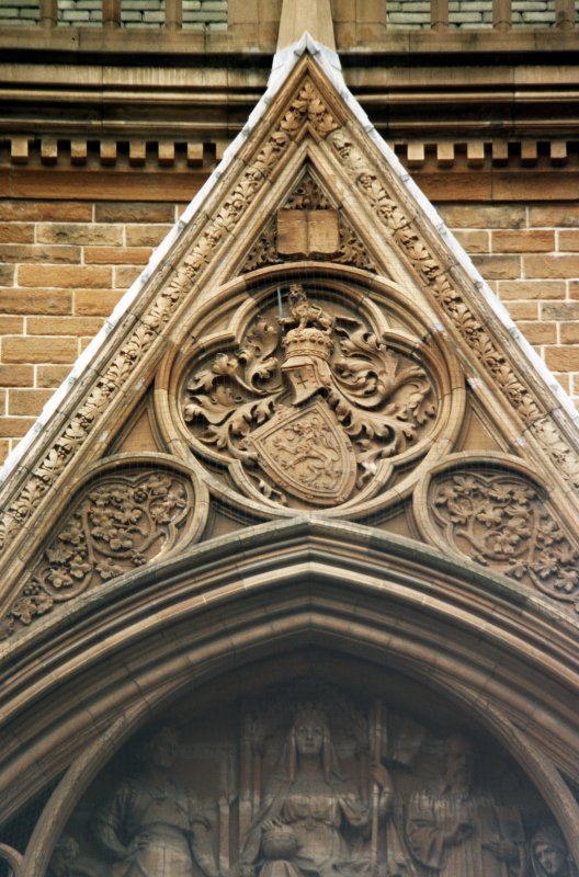 View of relief of the Royal Arms of Scotland, prior to the union with England, in tympanum of gable, main entrance, N facade.