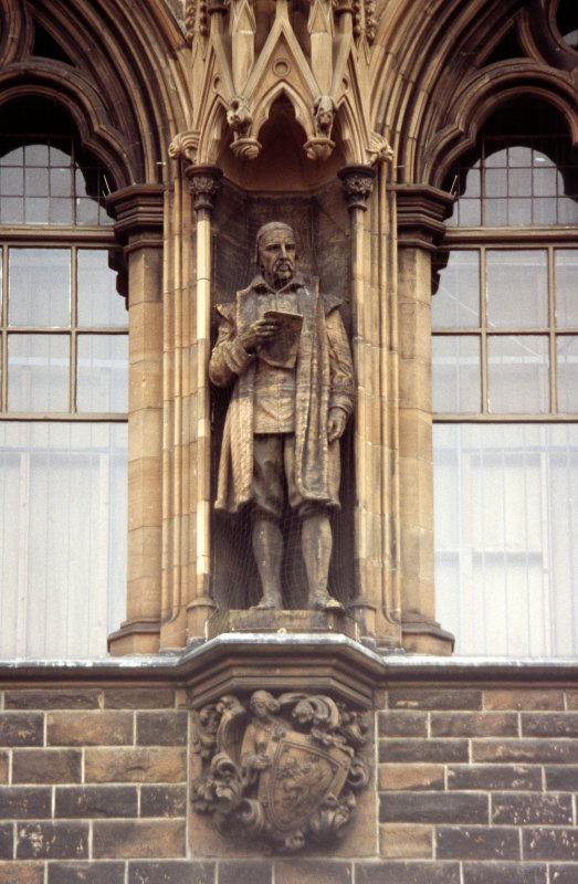 View of statue of George Buchanan, third from left on western section of N facade.