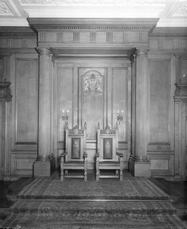 "Interior-general view of two thrones with monograms ""GR"" and ""ER"" in Throne Room at Holyrood Palace"