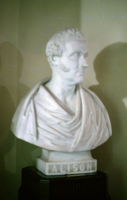View of marble bust of William Pulteney Alison M. D. by William Brodie, 1861, ground floor W side.
