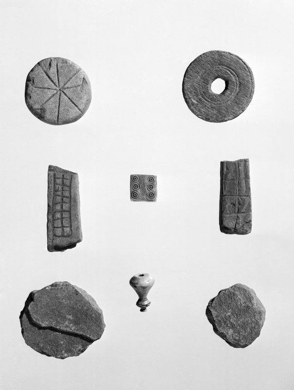 View of gaming pieces found during excavation of Jarlshof.