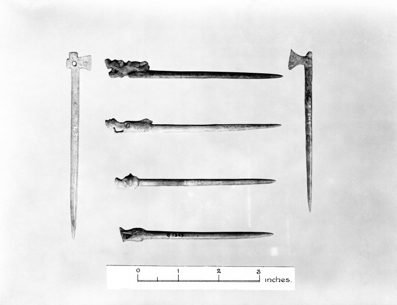 Finds Photograph: Dragon-headed and axe-headed pins.