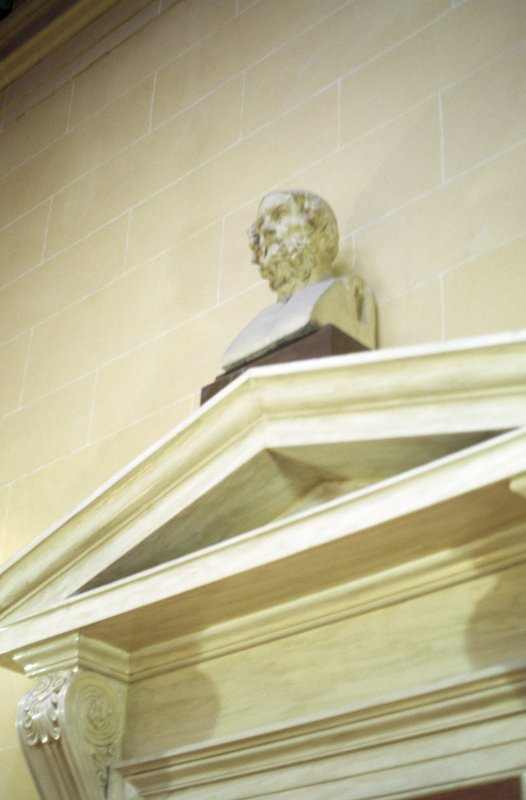 View of bust of Hippocrates, above door to the library.