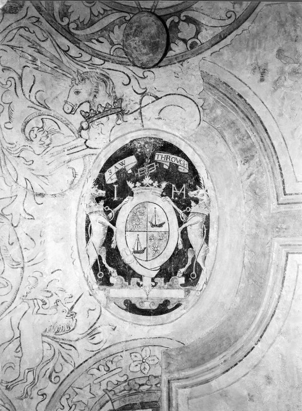 Interior. Detail of painted ceiling showing coat of arms insc: 'Saw Through'.