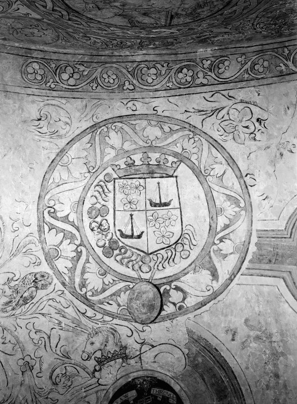 Interior, Kinneil House, Bo'Ness. Detail of painted ceiling showing coat of arms of boats and flowers.