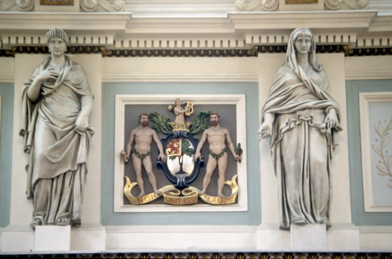 View of the frieze in the Hall, showing the coat of arms of the Royal College of Physicians and representations of Hygeia.