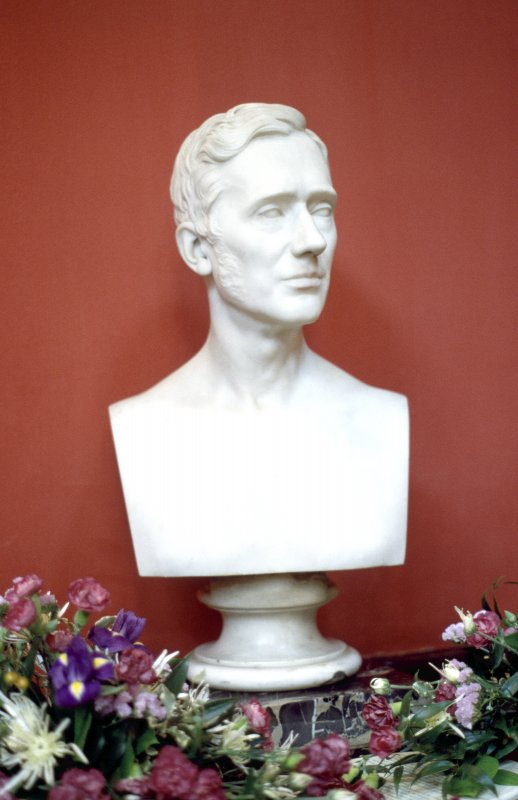 View of marble bust of James George Playfair by Hiram Powers, in the Hall.