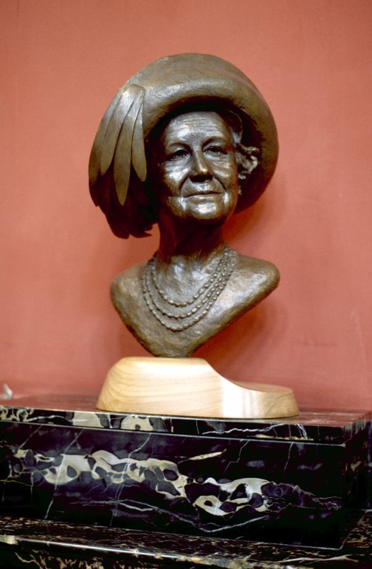 View of bust of Her Majesty Queen Elizabeth the Queen Mother, in the Hall.