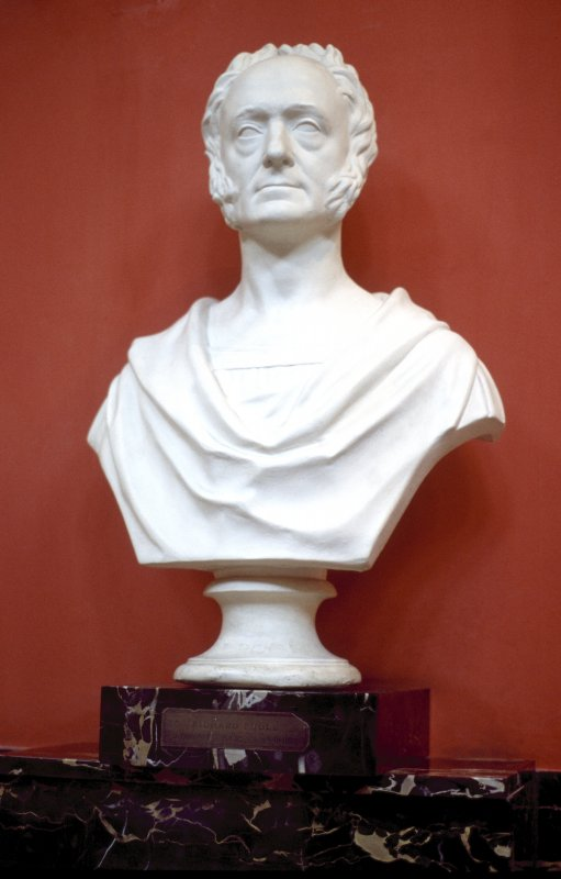 View of plaster bust of Richard Poole, in the Hall.