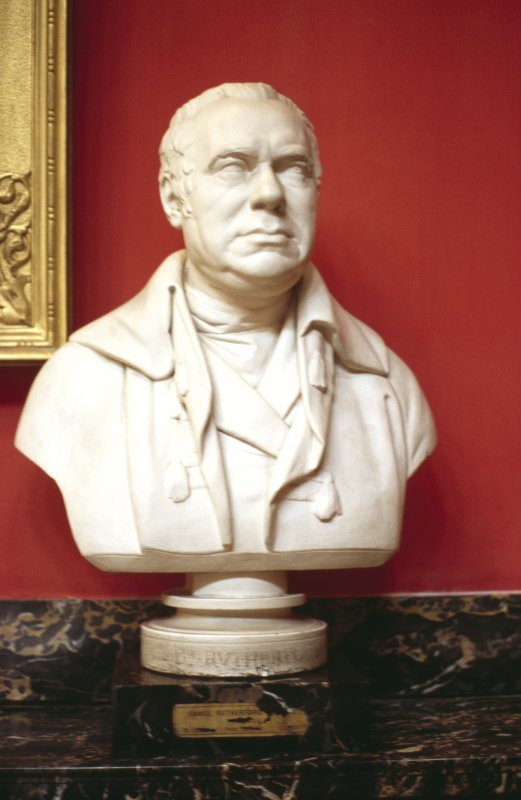 View of plaster bust of Dr Rutherford, in the Hall.