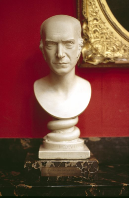 View of plaster bust of Joshua Henry Davidson by Peter Slater, 1847, in the Hall.