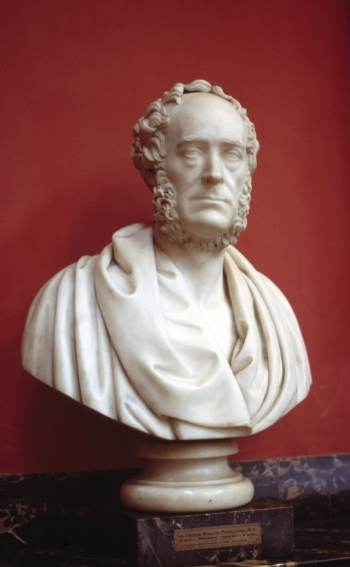 View of marble bust of an unidentified male by John Steell, 1871, in the Hall.