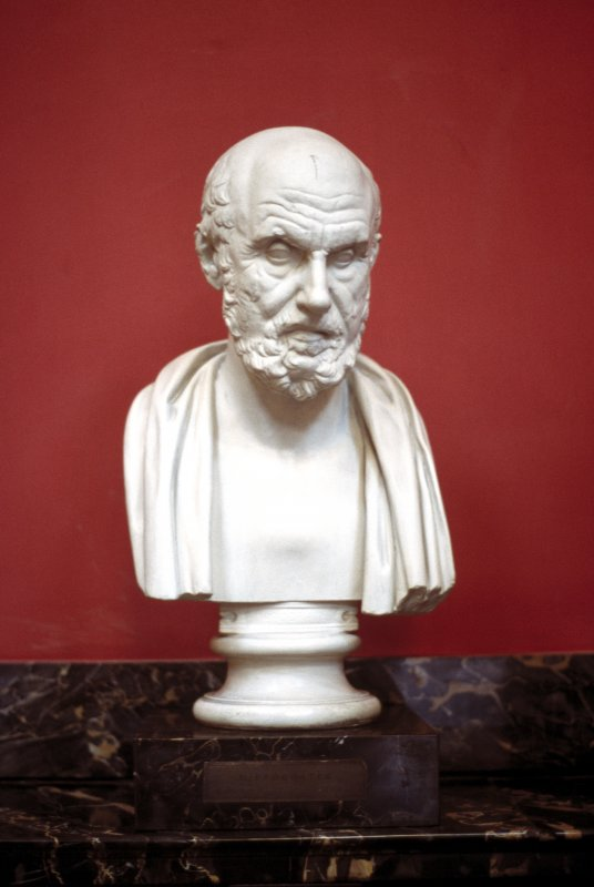 View of plaster bust of Hippocrates, in the Hall.