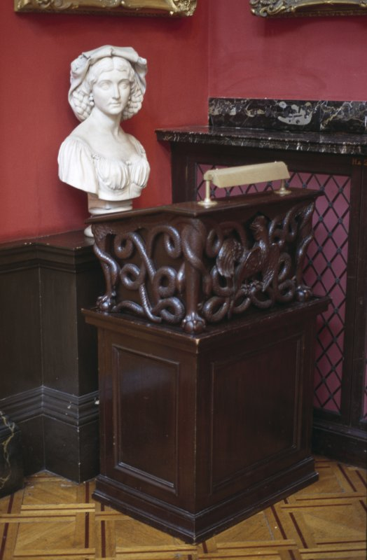 View of marble bust of an unidentified female by John Hutchison, 1863, in the Hall.