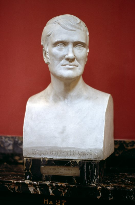 View of plaster bust of Dr John Thomson by Richard Westmacott the Younger, in the Hall.