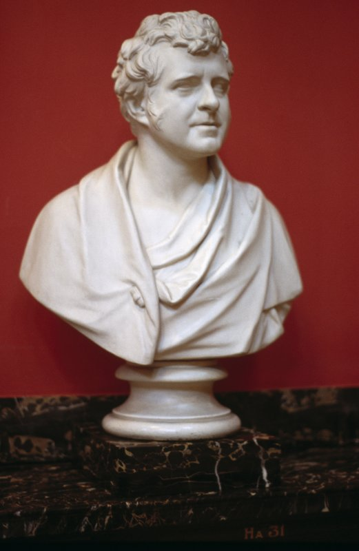 View of plaster bust of Richard Bright by William Behnes, 1836, in the Hall.