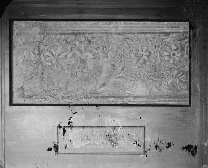 Interior-detail of remnant of frieze in Mary Queen of Scots' Audience Chamber in Holyrood Palace.