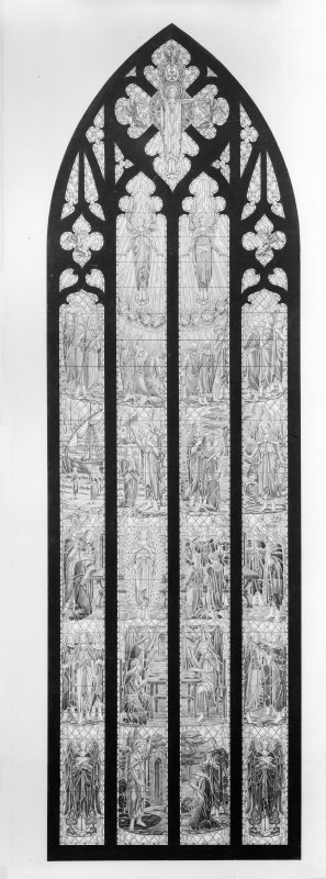 Design for stained glass window - two copies of same design on one plate.