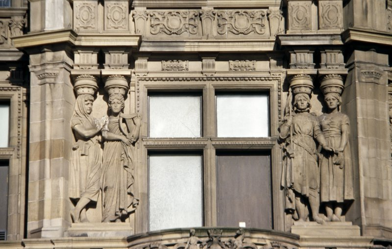 View of two pairs of caryatids representing Ireland (left) and France (right), first floor, E bay on Princes Street.