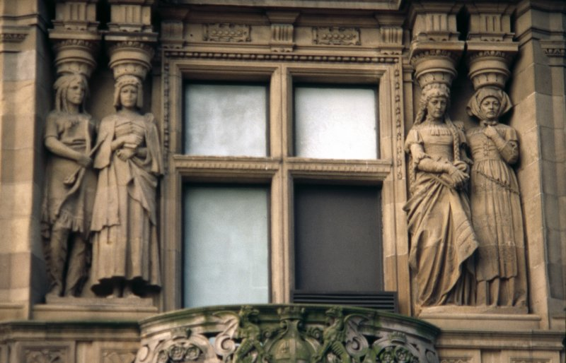 View of two pairs of caryatids representing America (left) and Germany (right), first floor, S bay on South St David Street.