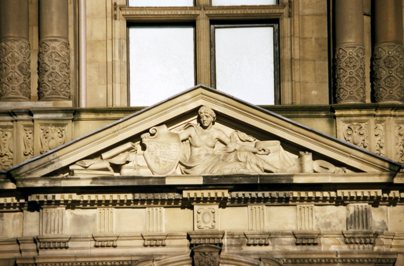 View of pediment sculpture above main entrance on Princes Street.