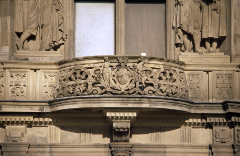 View of coat of arms of Edinburgh, below caryatids representing Ireland and France, first floor, E bay on Princes Street.