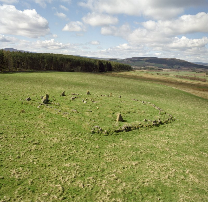 High-Spy view from the East showing Eslie the Greater recumbent stone circle.