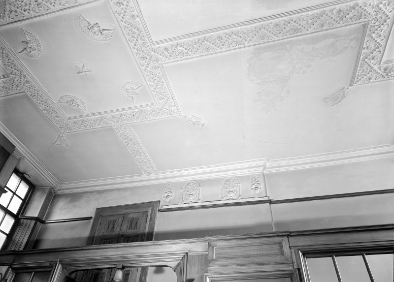 Interior. Detail of stucco ceiling.