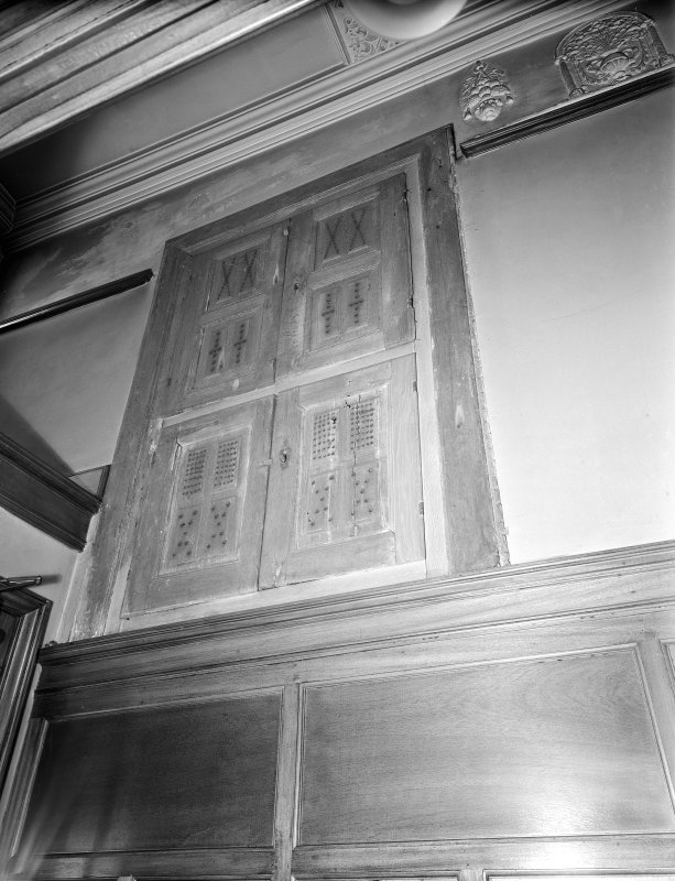Interior. Detail of cupboard and stucco cornice.