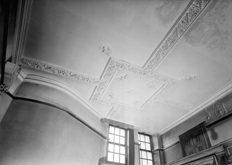 Interior. Detail of stucco ceiling and cornice.