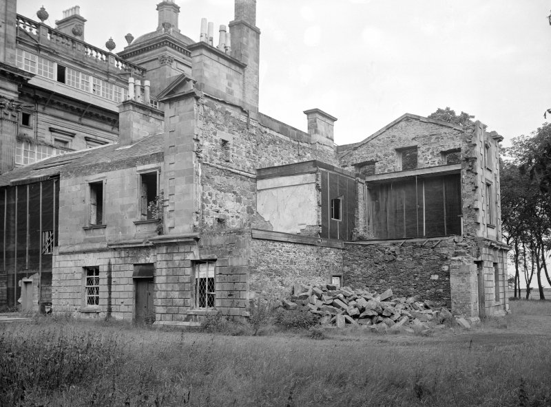 View of East wing in half-demolished state, Duff House.