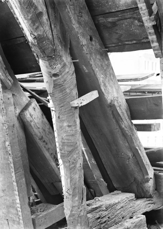 Interior. View of wooden rafters.